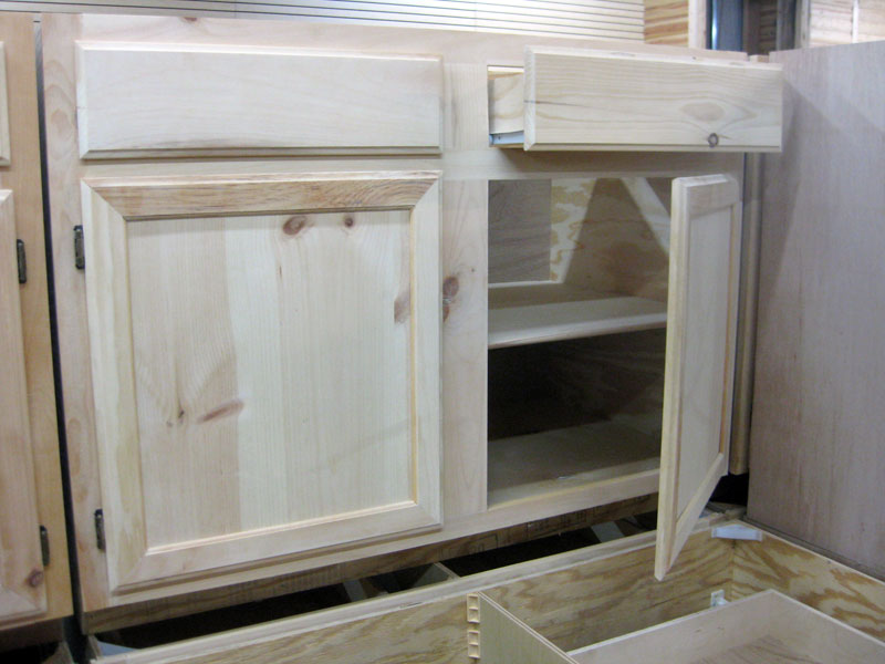 knotty pine cabinets plywood body sidemount drawers